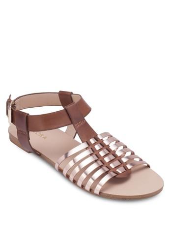 金屬感編織帶涼zalora 台灣鞋, 女鞋, 涼鞋