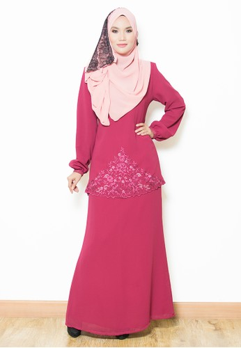 Sandra Kurung Moden-Maroon from Yaty's in Red