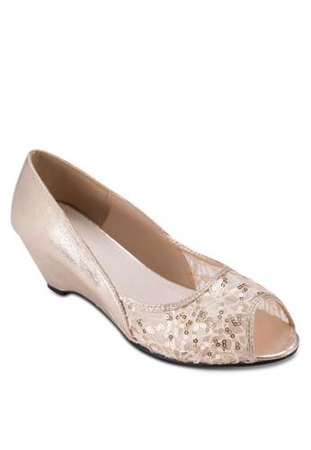 透膚拼zalora 包包評價接露趾楔形跟鞋, 女鞋, 鞋