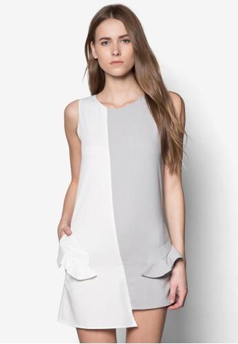 撞色拼接A 字連身裙, 服飾, 正式zalora鞋洋裝