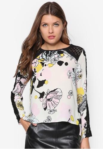 蕾絲印zalora taiwan 時尚購物網鞋子花長袖衫, 服飾, 上衣