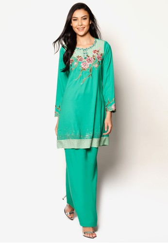 EmbroideRed Kurung Moden from Jasmina Collection in Green