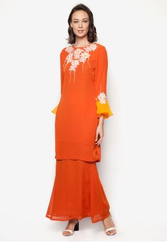 Lace Baju Kurung from Koleksi Kornia in Orange