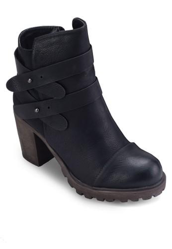 zalora 台灣Luiza 雙踝帶粗跟短靴, 女鞋, 靴子