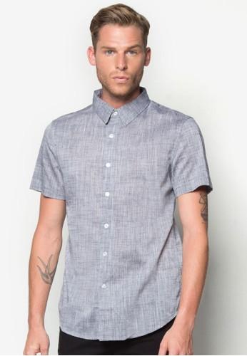 暗紋短袖zalora退貨襯衫, 服飾, 素色襯衫