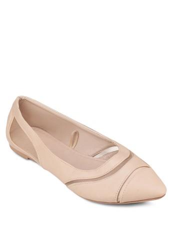 Shezalora 包包 pttlly 網眼拼接尖頭平底鞋, 女鞋, 芭蕾平底鞋