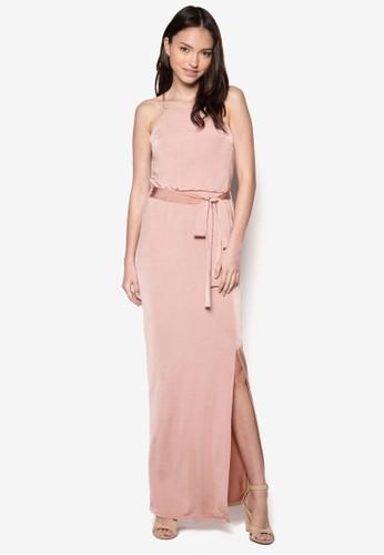 側zalora taiwan 時尚購物網鞋子開衩挖背長洋裝, 服飾, 洋裝