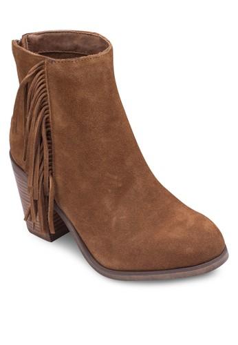 流蘇高筒粗跟踝靴zalora 鞋評價, 女鞋, 靴子