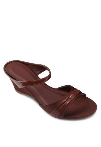 雙帶楔型跟涼鞋, 女鞋,zalora 男鞋 評價 楔形涼鞋