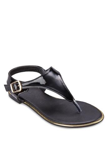 PU 亮面Tzalora 心得 字帶涼鞋, 女鞋, 鞋
