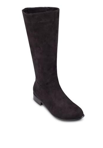 仿麂zalora退貨皮低跟高筒靴, 女鞋, 鞋