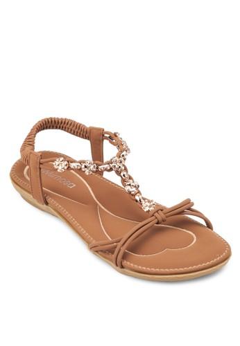 閃飾zalora鞋子評價繞踝平底涼鞋, 女鞋, 涼鞋