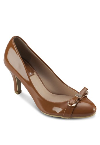 蝴蝶結漆zalora 包包 ptt皮高跟鞋, 女鞋, 高跟鞋