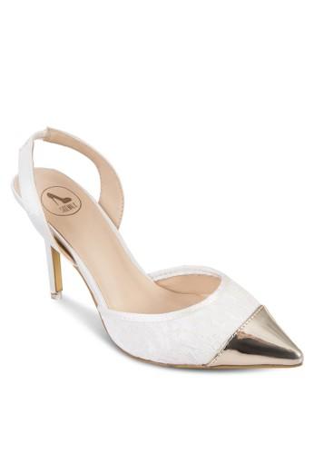 亮面尖頭蕾絲高zalora 心得跟鞋, 女鞋, 鞋