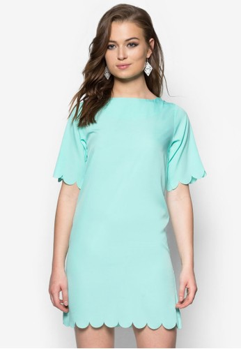 扇貝下擺直筒連身zalora 內衣裙, 服飾, 洋裝