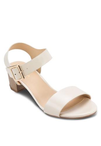 一字帶繞踝zalora 衣服尺寸粗跟涼鞋, 女鞋, 低跟