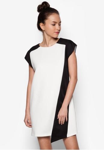 色塊拼接直筒連身裙zalora鞋, 服飾, 洋裝