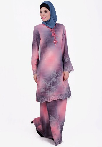 Baju Kurung With Contrast Color from ESPRIMA in Grey