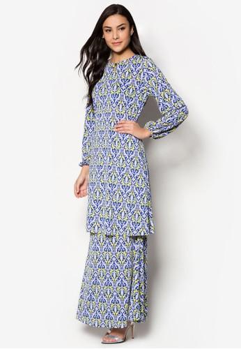 Raisa Mini Kurung from Zuco Fashion in White and Blue