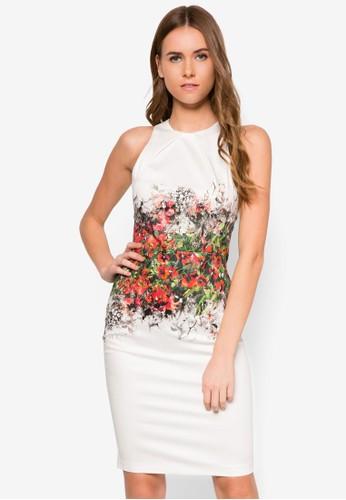 zalora鞋花卉印花及膝無袖連身裙, 服飾, 洋裝