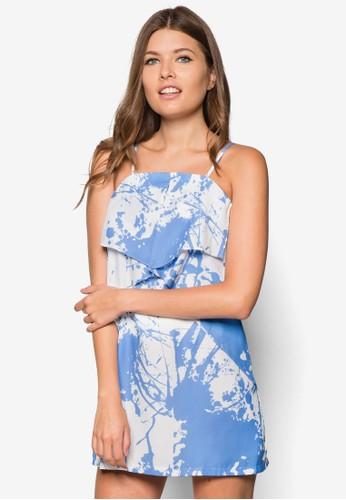 細肩帶層次直筒連身裙, 服飾,zalora 台灣 洋裝
