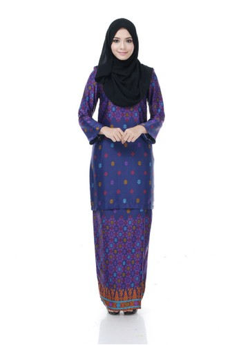 Kurung Modern Nazra(Purple) from Nur Shila in Purple and Multi