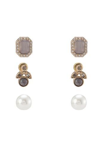 三入閃鑽造型耳環組zalora 手錶 評價, 飾品配件, 飾品配件