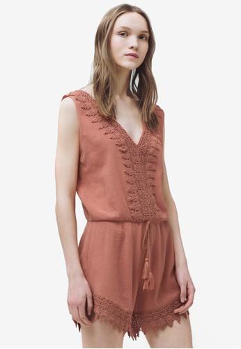 蕾絲棉質無袖連身褲, zalora 包包 ptt服飾, 連身褲