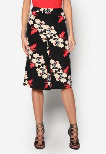 zalora鞋子評價Iris 花卉前褶飾短裙, 服飾, 及膝裙