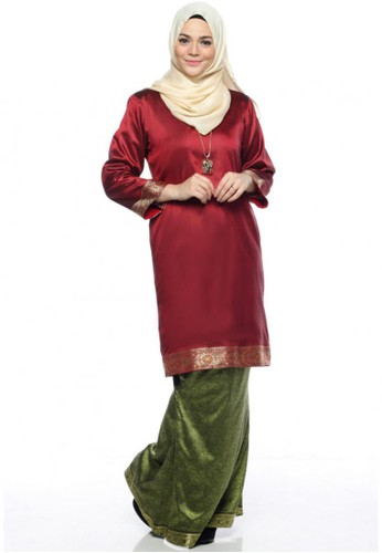 Ileana Kurung Saree from Farha by JZ in Red and Green