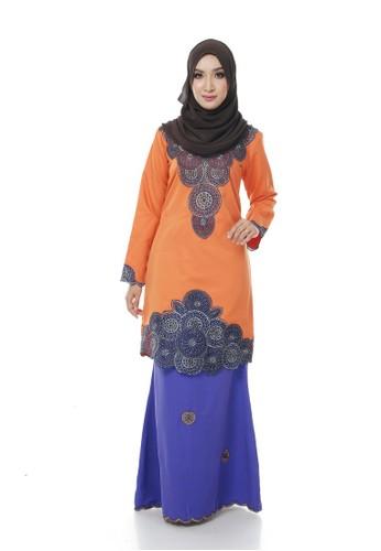 Adira Block Kurung Modern- Orange from Maribeli Butik in Orange and Blue and Silver