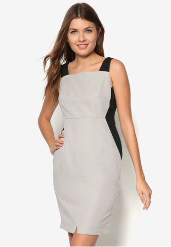 zalora 鞋評價Petite 撞色拼接無袖連身裙, 服飾, 洋裝