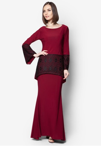Mullet Lace Midi Kurung from Zuco Fashion in Red