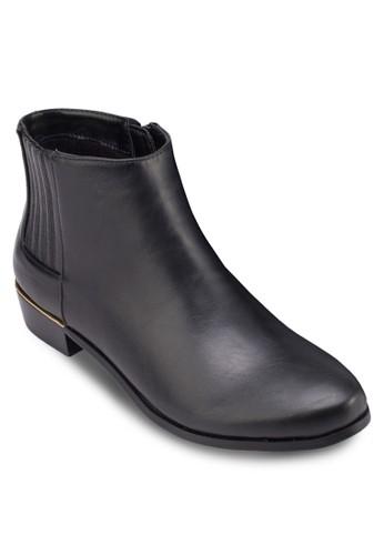 亮面金飾低跟踝靴, 女鞋, zalora 鞋評價鞋