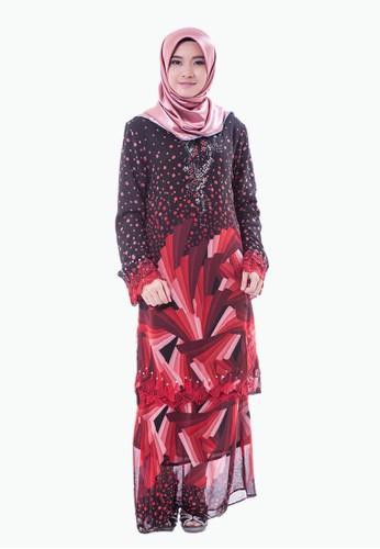 Rasa Sayang Retro Print EmbroideRed Baju Kurung – Red from Rasa Sayang in Red