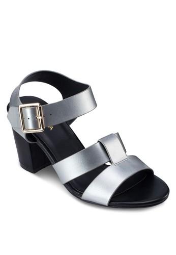 雙寬帶繞踝粗跟zalora 衣服評價涼鞋, 女鞋, 中跟