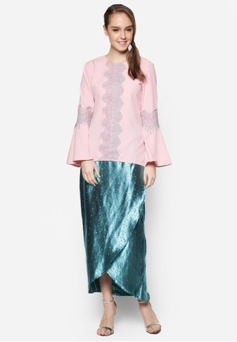 Cattleya Modern Lace Kurung from ARDA PUTRA in Pink and Blue