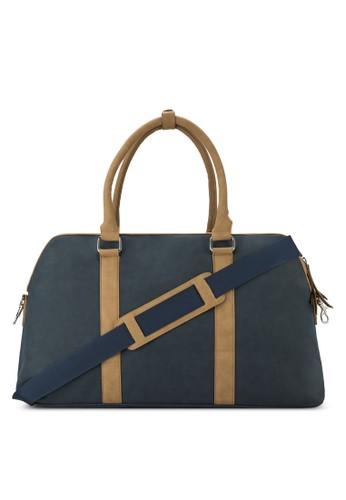 雙色手提帶, 包, 旅zalora退貨行袋