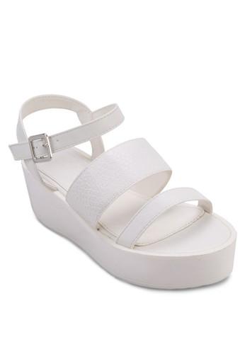 Bankzalora 內衣s 寬帶繞踝厚底涼鞋, 女鞋, 楔形涼鞋