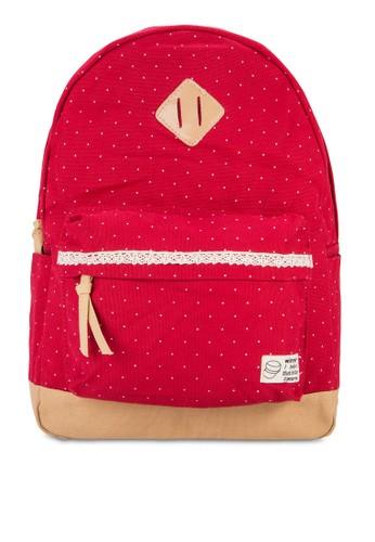 點點印花帆布後背包,zalora 包包評價 包, 後背包
