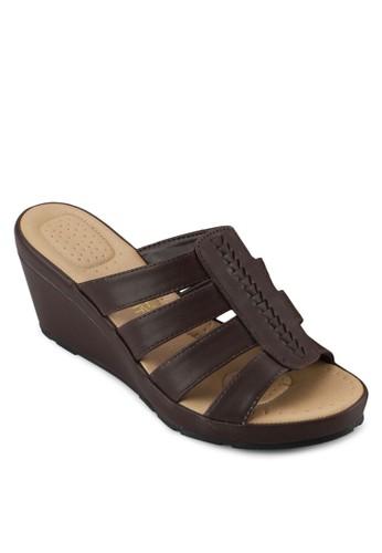 Beatrice 編織寬帶楔形鞋, 女鞋, 楔zalora 心得形涼鞋