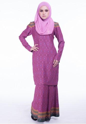 Baju Kurung Moden Kareena from Moodha  in Pink and Purple