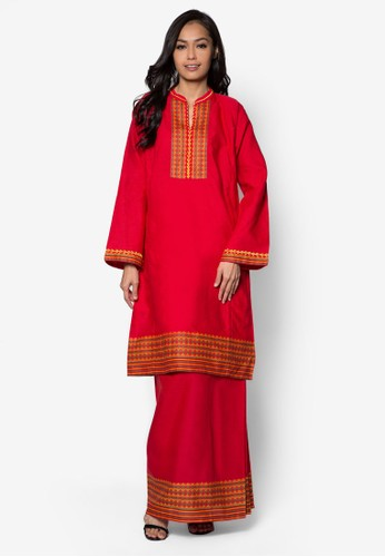 EmbroideRed Kurung from HiDY in Red