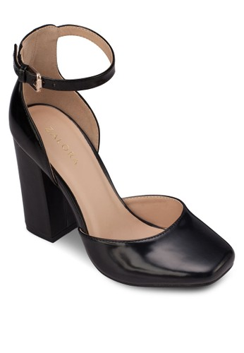 漆面方頭zalora鞋子評價側空高跟鞋, 女鞋, 細帶高跟鞋