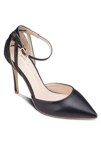 網眼zalora退貨拼接繞踝高跟鞋, 女鞋, 鞋