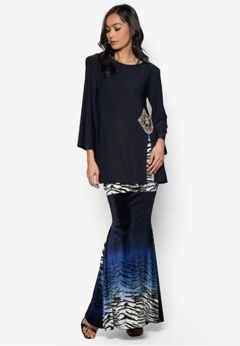 Front Slit Midi Kurung from Zuco Fashion in Blue and Navy