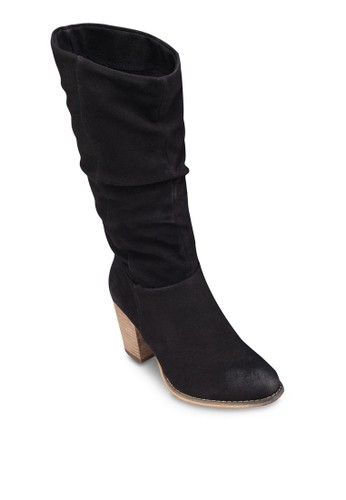 zalora 評價Azalea 及膝粗跟高筒靴, 女鞋, 靴子